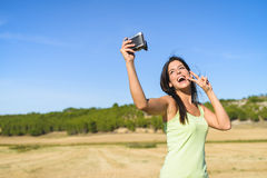 Woman On Summer Vacation Taking Selfie Photo Stock Images