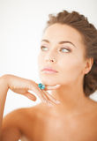 Woman with one jewelry ring Royalty Free Stock Photo