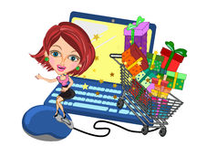 Woman in Online shopping concept Royalty Free Stock Images