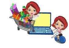 Woman in Online shopping concept Royalty Free Stock Photo