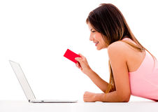 Woman online shopping Royalty Free Stock Photo