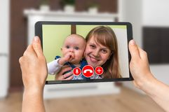 Woman online talking with her friend - video call Royalty Free Stock Image