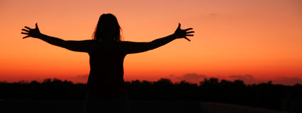 Woman with open arms Stock Image