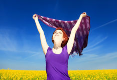 Woman with open arms Royalty Free Stock Photography