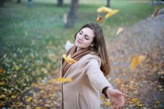 Woman Open Arms While Closed-eyes Smiling Photo Royalty Free Stock Photos