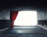 Woman open curtain Royalty Free Stock Photography