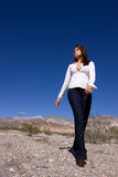 Woman in open desert Royalty Free Stock Image