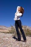 Woman in open desert Royalty Free Stock Photos