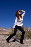 Woman in open desert Stock Photos