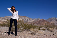 Woman in open desert Stock Photos