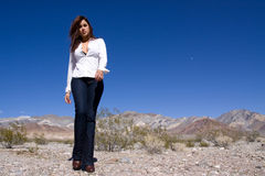 Woman in open desert Stock Photo