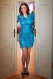 Woman in the open doorway. Beautiful woman in the open doorway Stock Photos