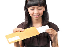 Woman open envelope Royalty Free Stock Photo