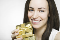 Woman with open gift box Royalty Free Stock Photography