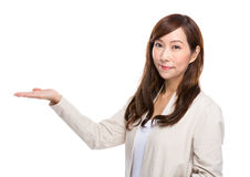 Woman with open hand palm Royalty Free Stock Photos