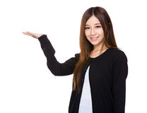 Woman with open hand palm Royalty Free Stock Photography