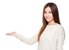 Woman with open hand palm Stock Image