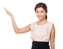 Woman with open hand palm Royalty Free Stock Image