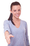Woman with open hand ready for handshake Stock Images