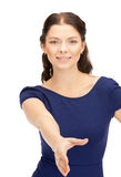 Woman with an open hand ready for handshake Royalty Free Stock Photos