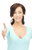 Woman with an open hand ready for handshake Stock Photography
