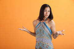 Woman With Open Hands Stock Photo