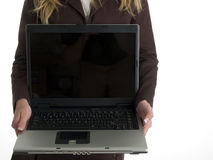 Woman with open laptop Stock Photos