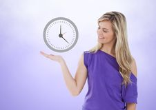 Woman with open palm hand under clock time icon Stock Images