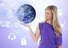 Woman with open palm hand under world earth interface Royalty Free Stock Photos