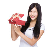 Woman open with red gift box Stock Photography