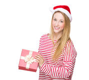 Woman open with red gift box Royalty Free Stock Photos