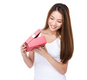 Woman open with red present box Stock Photography