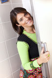 Woman open the refrigerator door Stock Images