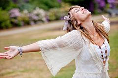 Woman with opened arms Stock Photography