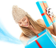 Woman opened Christmas present Stock Images