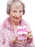 Woman opening a gift box Royalty Free Stock Photography