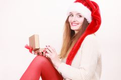 Woman opening gift box. Christmas time Royalty Free Stock Images