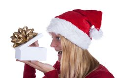 Woman Opening Gift Royalty Free Stock Photography