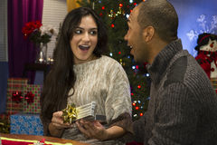 Woman opening jewelery gift box for holidays, horizontal Stock Photos
