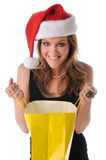 Woman Opening Shopping Bag Stock Images