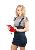 Woman with opening wallet Stock Image
