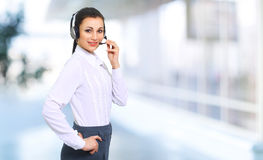 woman by the operator of the call center Stock Photo