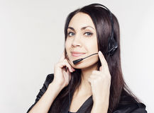 Woman operator with head-set Stock Images