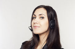Woman operator with head-set Stock Image