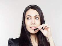 Woman operator with head-set Royalty Free Stock Photo