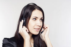 Woman operator with head-set Royalty Free Stock Image