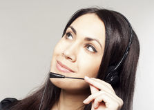 Woman operator with head-set Stock Photography