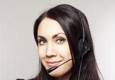 Woman operator with head-set Royalty Free Stock Photography