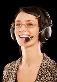 Woman-operator with headphone Stock Photography