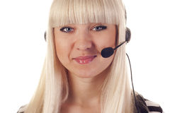 Woman operator with headset Stock Photography